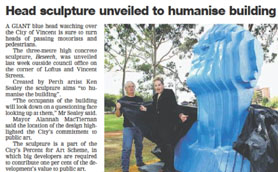 Article from the Community News about Beseech Public Art for the City of Vincent 26 March 2013