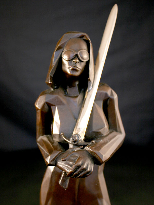 Blind Justice a limited edition bronze sculpture by Ken Sealey